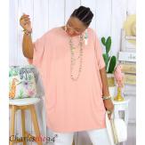 Tunique t-shirt long été femme grande taille BRUNA rose Tee shirt tunique femme grande taille