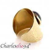 Bague acier agate noire dorée réglable MOKI5 Bijoux fantaisie