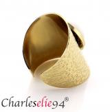 Bague acier jade blanc dorée réglable MOKI6 Bijoux fantaisie