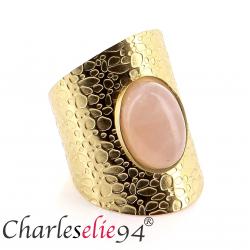 Bague acier quartz rose dorée réglable MOKI7 Bijoux fantaisie