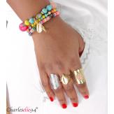 Bague acier coquillage dorée réglable MOKI2 Bijoux fantaisie