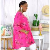 Tunique longue été coton lin femme grande taille CHARLEY fushia Tunique femme grande taille