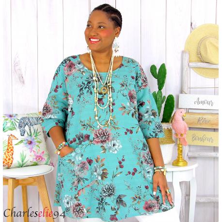 Tunique longue été coton lin femme grande taille CHARLEY kaki Tunique femme grande taille