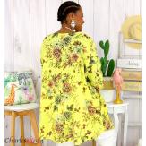 Tunique longue été coton lin femme grande taille CHARLEY jaune Tunique femme grande taille