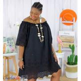 Tunique robe été coton dentelle broderie grande taille ORLANDA noire Robe tunique femme grande taille