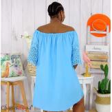 Tunique robe été coton dentelle broderie grande taille ORLANDA turquoise Robe tunique femme grande taille