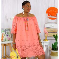 Tunique robe été coton dentelle broderie grande taille ORLANDA corail Robe tunique femme grande taille