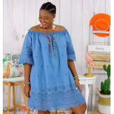 Tunique robe été coton dentelle broderie grande taille ORLANDA bleu Robe tunique femme grande taille