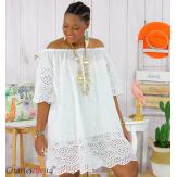 Tunique robe été coton dentelle broderie grande taille ORLANDA blanche Robe tunique femme grande taille
