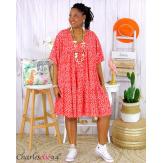 Robe tunique été volants liberty femme grande taille WANDO rouge Robe tunique femme grande taille