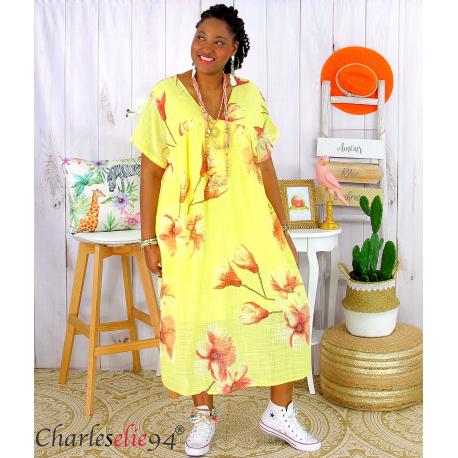 Robe été fleurie coton lin femme grande taille LOUISETTE jaune Robe été grande taille