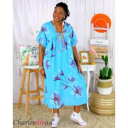 Robe été fleurie coton lin femme grande taille LOUISETTE turquoise Robe été grande taille
