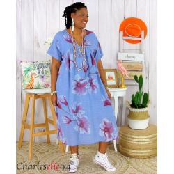 Robe été fleurie coton lin femme grande taille LOUISETTE bleu jean Robe été grande taille