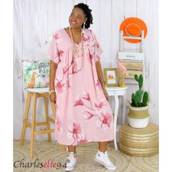 Robe été fleurie coton lin femme grande taille LOUISETTE rose Robe été grande taille