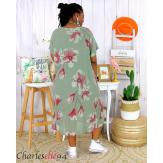 Robe été fleurie coton lin femme grande taille LOUISETTE kaki Robe été grande taille