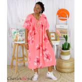 Robe été fleurie coton lin femme grande taille LOUISETTE corail Robe été grande taille