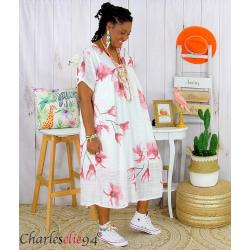 Robe été fleurie coton lin femme grande taille LOUISETTE blanc Robe été grande taille