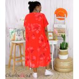 Robe été fleurie coton lin femme grande taille LOUISETTE rouge Robe été grande taille