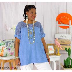 Tunique été dentelle broderie tencel grande taille ZOE bleu jean Tunique dentelle femme