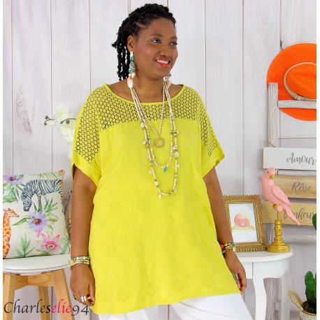 Tunique été dentelle broderie tencel grande taille ZOE jaune Tunique dentelle femme