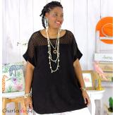 Tunique été dentelle broderie tencel grande taille ZOE noire Tunique dentelle femme