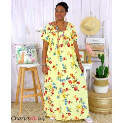 Robe longue maxi été fleurie grande taille DAY jaune Robe longue grande taille