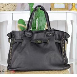 Grand sac cabas cuir vintage délavé clous VEGAS Noir Sac cabas
