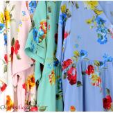 Robe longue maxi été fleurie grande taille DAY turquoise Robe longue grande taille