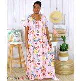 Robe longue maxi été fleurie grande taille DAY rose Robe longue grande taille