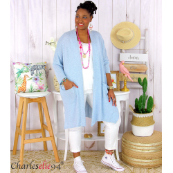 Gilet long grande taille coton été PALMEIRA bleu ciel Gilet femme grande taille