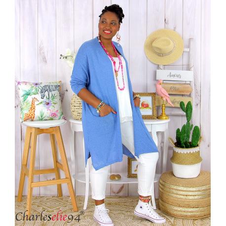 Gilet long grande taille coton été PALMEIRA bleu jean Gilet femme grande taille