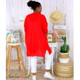 Gilet long grande taille coton été PALMEIRA rouge Gilet femme grande taille