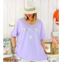 T-shirt coton femme grande taille été bohème ASTRE parme Tee shirt tunique femme grande taille