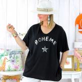 T-shirt coton femme grande taille été bohème ASTRE noir Tee shirt tunique femme grande taille