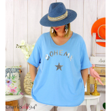 T-shirt coton femme grande taille été bohème ASTRE bleu ciel Tee shirt tunique femme grande taille