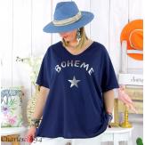 T-shirt coton femme grande taille été bohème ASTRE bleu marine Tee shirt tunique femme grande taille