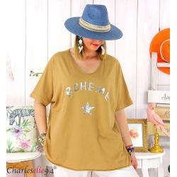 T-shirt coton femme grande taille été bohème ASTRE camel Tee shirt tunique femme grande taille
