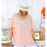 T-shirt coton femme grande taille été bohème ASTRE rose Tee shirt tunique femme grande taille