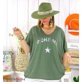 T-shirt coton femme grande taille été bohème ASTRE kaki Tee shirt tunique femme grande taille
