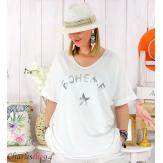 T-shirt coton femme grande taille été bohème ASTRE blanc Tee shirt tunique femme grande taille