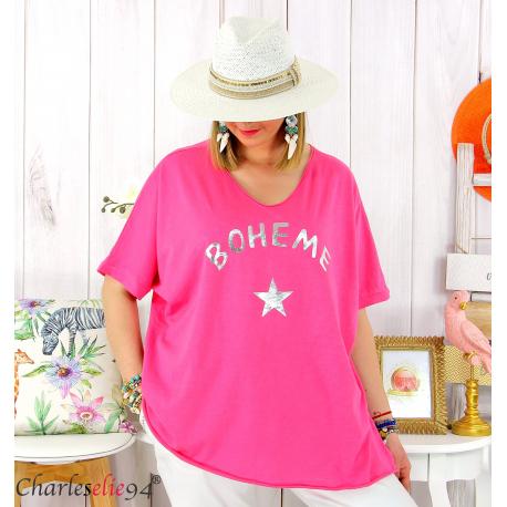 T-shirt coton femme grande taille été bohème ASTRE fushia Tee shirt tunique femme grande taille