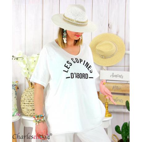 T-shirt coton femme grande taille été COPINES blanc Tee shirt tunique femme grande taille