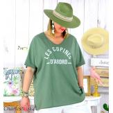 T-shirt coton femme grande taille été COPINES kaki Tee shirt tunique femme grande taille