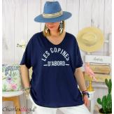 T-shirt coton femme grande taille été COPINES bleu marine Tee shirt tunique femme grande taille