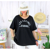 T-shirt coton femme grande taille été COPINES noir Tee shirt tunique femme grande taille