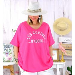 T-shirt coton femme grande taille été COPINES fushia Tee shirt tunique femme grande taille