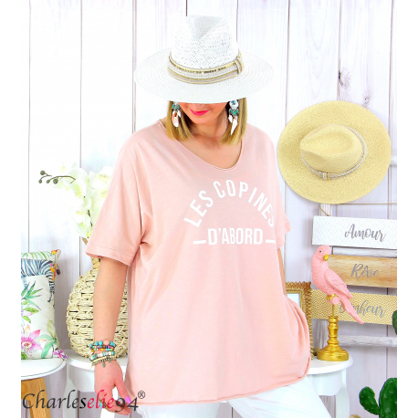 T-shirt coton femme grande taille été COPINES rose Tee shirt tunique femme grande taille