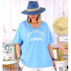 T-shirt coton femme grande taille été COPINES bleu ciel Tee shirt tunique femme grande taille