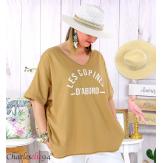 T-shirt coton femme grande taille été COPINES camel Tee shirt tunique femme grande taille