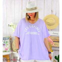 T-shirt coton femme grande taille été COPINES parme Tee shirt tunique femme grande taille